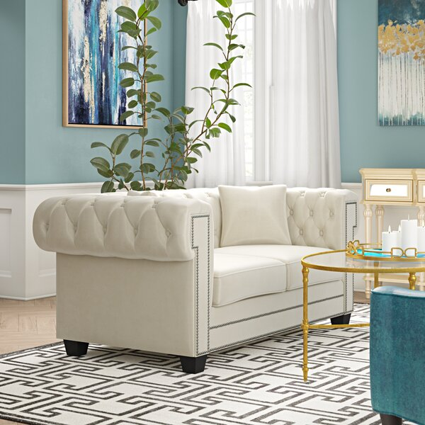 Closeout Hilaire Chesterfield Loveseat by Willa Arlo Interiors by Willa Arlo Interiors