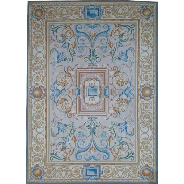 One-of-a-Kind Aubusson Hand-Woven Wool Cream/Beige Area Rug by Pasargad