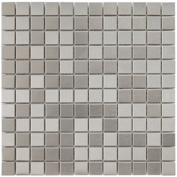 Vulcan 0.88 x 0.88 Stainless Steel and Porcelain Mosaic Tile in Silver by EliteTile