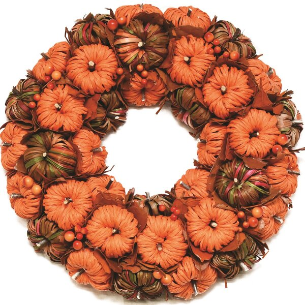 Autumn Harvest 15 Corn Leaf Pumpkins Artificial Wreath by Northlight Seasonal