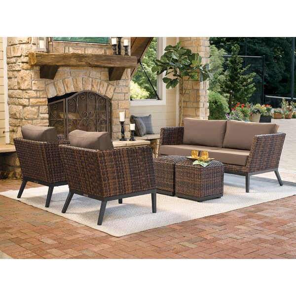 Mandeville 5 Piece Sofa Seating Group with Cushions by Beachcrest Home