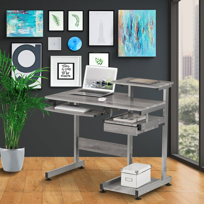 Velia Compact Computer Desk with Hutch