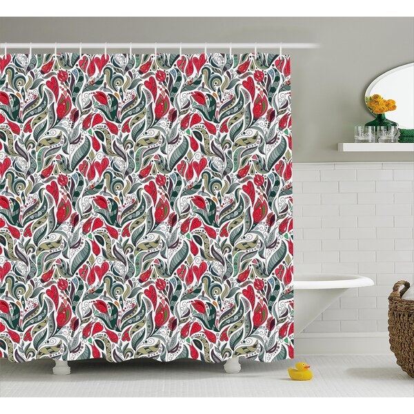 Bechtold Colored Boho Flowers Leaf Shower Curtain by Latitude Run