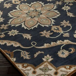 Best Reviews Topaz Midnight Blue/Beige Floral Area Rug By World Menagerie