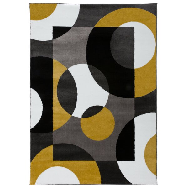 Nava Modern Circles Gray/Yellow Area Rug by Ebern Designs
