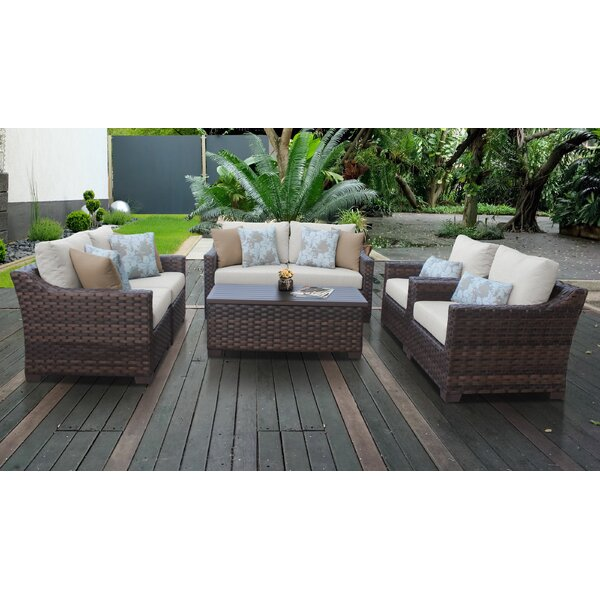River Brook 7 Piece Wicker Sofa Seating Group with Cushions by kathy ireland Homes & Gardens by TK Classics