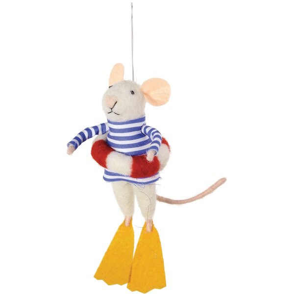 Mouse Lifeguard Rocky Hanging Figurine (Set of 2) by Highland Dunes