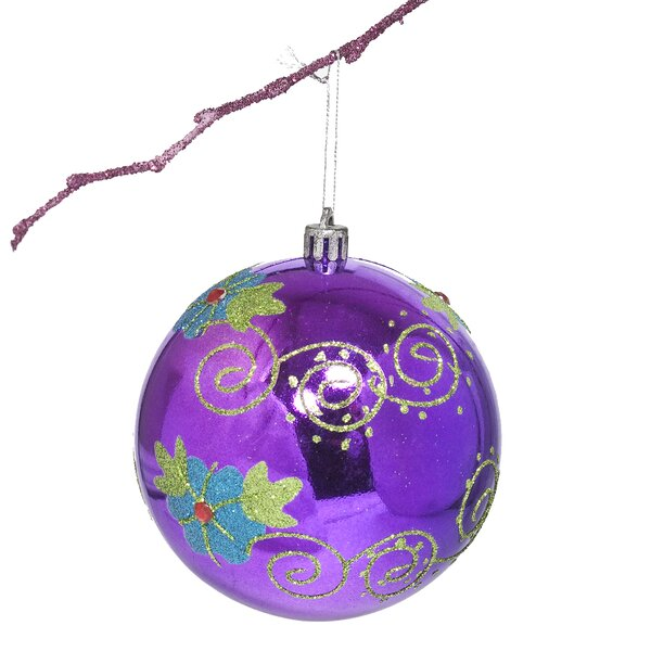 3.9 Shatterproof Handpainted Flower with Acrylic Diamonds Christmas Ball Ornament by Perfect Holiday