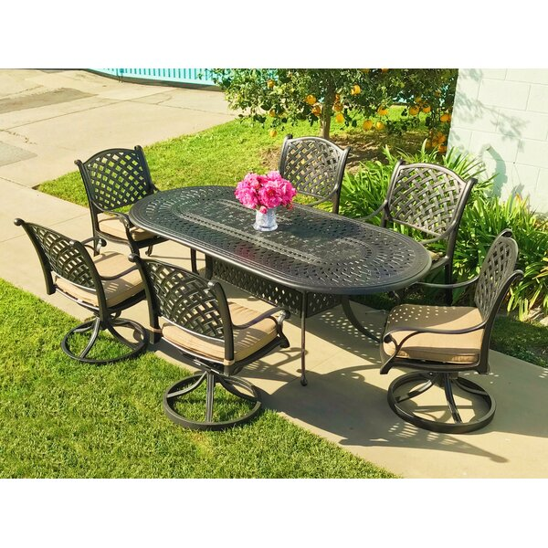 Beadle Oval Cast Aluminum 7 Piece Dining Set with