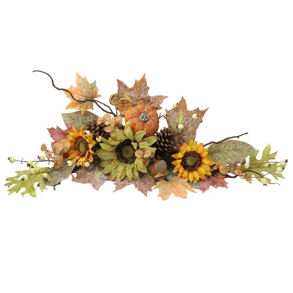 Artificial Sunflowers/ Pumpkins/ Pinecone/ Maple Leaves/ Berries Fall Festive Harvest Display Swag by Admired by Nature