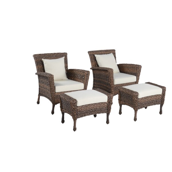 Wickliffe Outdoor Garden Patio Chair with Cushions and Ottoman by Highland Dunes Highland Dunes