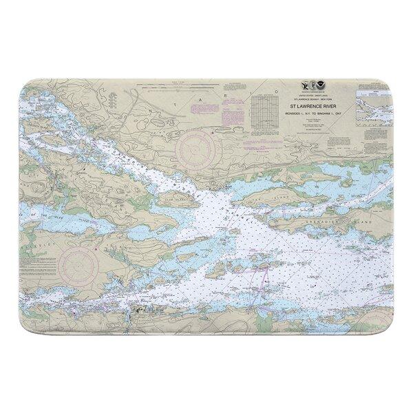 Nautical Chart St. Lawrence River Ironsides NY to Bingham Ontario Rectangle Memory Foam Non-Slip Bath Rug
