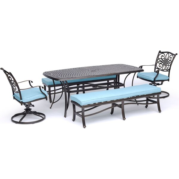 Petersburg 5 Piece Dining Set with Cushions by Fleur De Lis Living