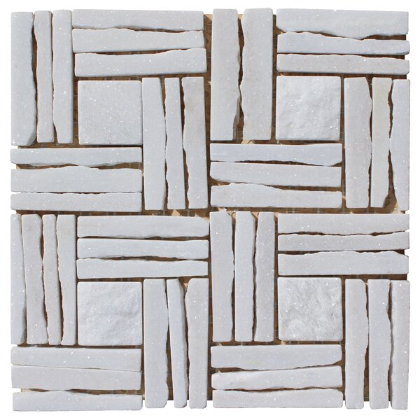 Quartzite Basketweave Interlocked Random Sized Natural Stone Mosaic Tile in White by Intrend Tile