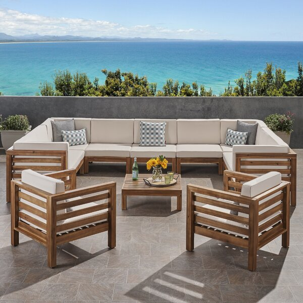 Zaina Outdoor 4 Piece Sectional Seating Group with Cushions by Longshore Tides