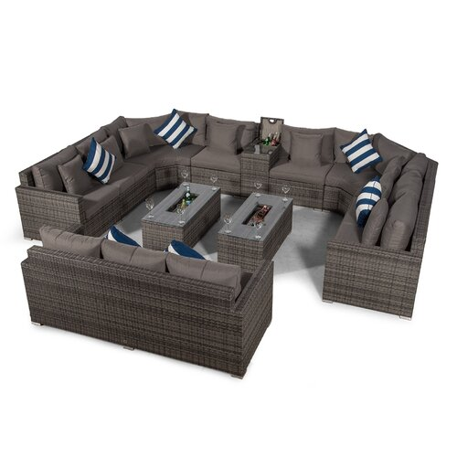 Villasenor Grey Rattan 8 Seat Sofa With 2 X Rectangle Ice Bu