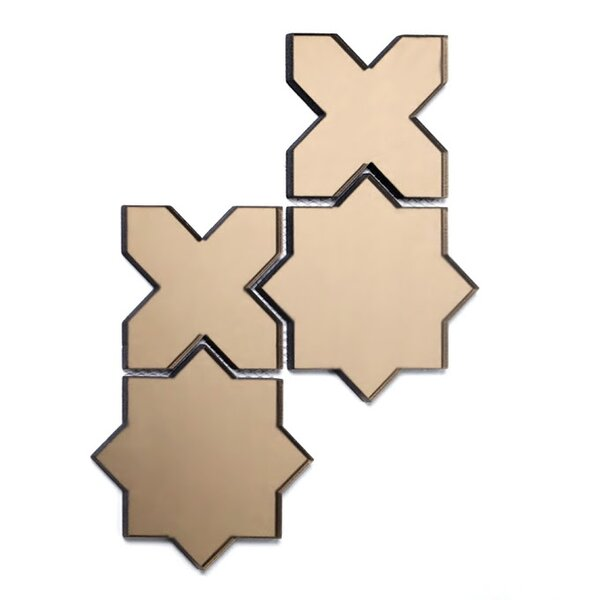 Echo Celestial 6 x 6 Glass Mosaic Tile in Gold by Abolos