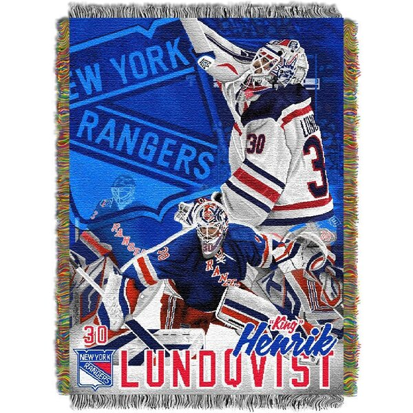 NHL Hendrick Lundqvist NY Rangers Player Throw Blanket by Northwest Co.
