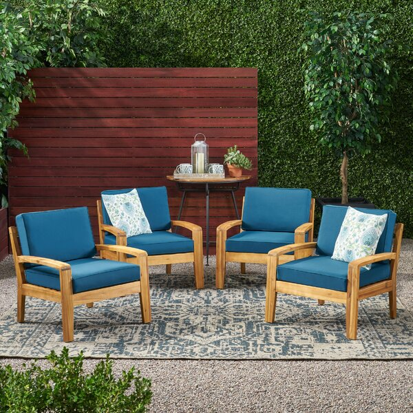 Braxton Patio Chair with Cushions (Set of 4) by Corrigan Studio