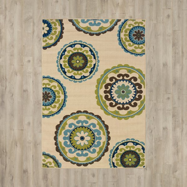 Capri Beige/Green Indoor/Outdoor Area Rug by Bungalow Rose