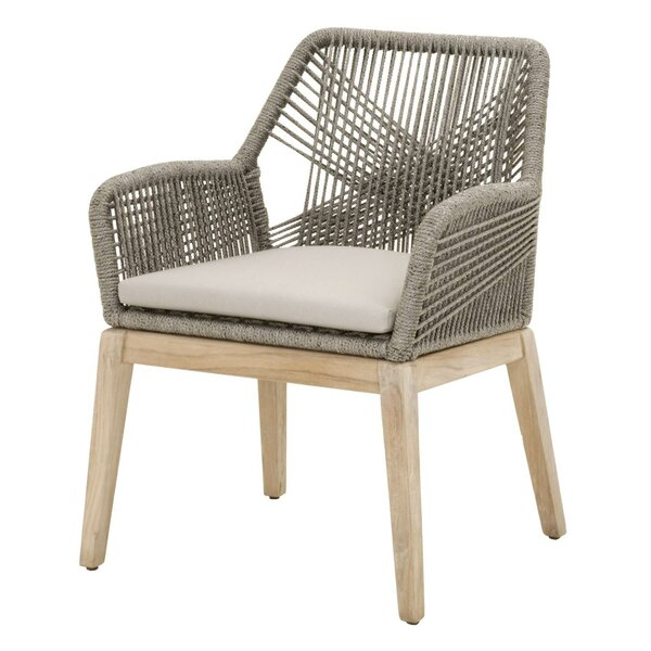 Kiley Teak Patio Dining Chair with Cushion (Set of 2) by Mistana