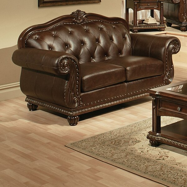 Comparison Wentz Leather Loveseat by Astoria Grand