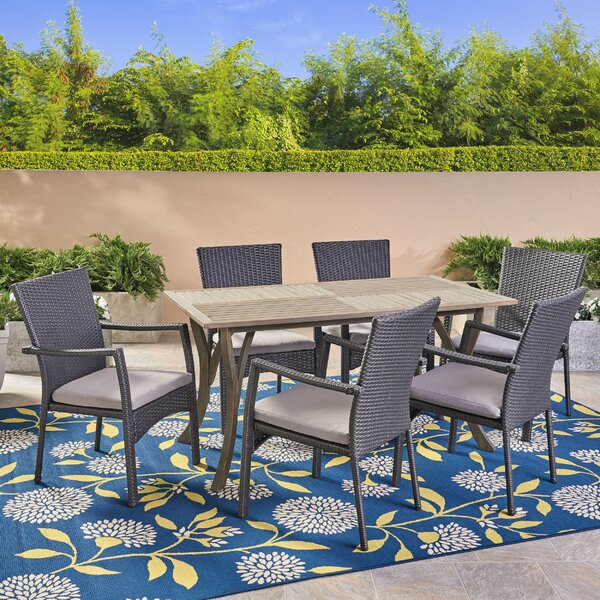Dudek 7 Piece Dining Set with Cushions by Highland Dunes