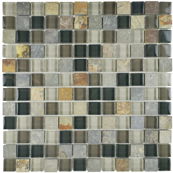 Sierra 0.88 x 0.88 Glass and Natural Stone Mosaic Tile in Black/Gray by EliteTile