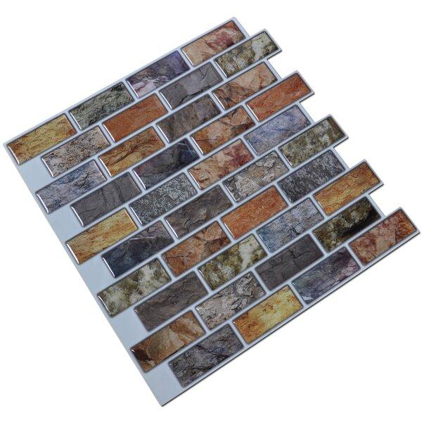 12 x 12 PVC Peel & Stick Mosaic Tile in Brown/Gray by Art3d