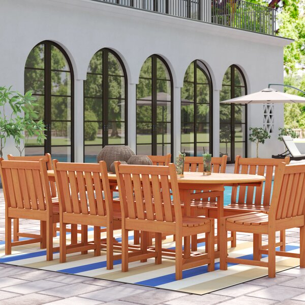 Amabel Extendable 9 Piece Eucalyptus Hardwood Dining Set by Beachcrest Home