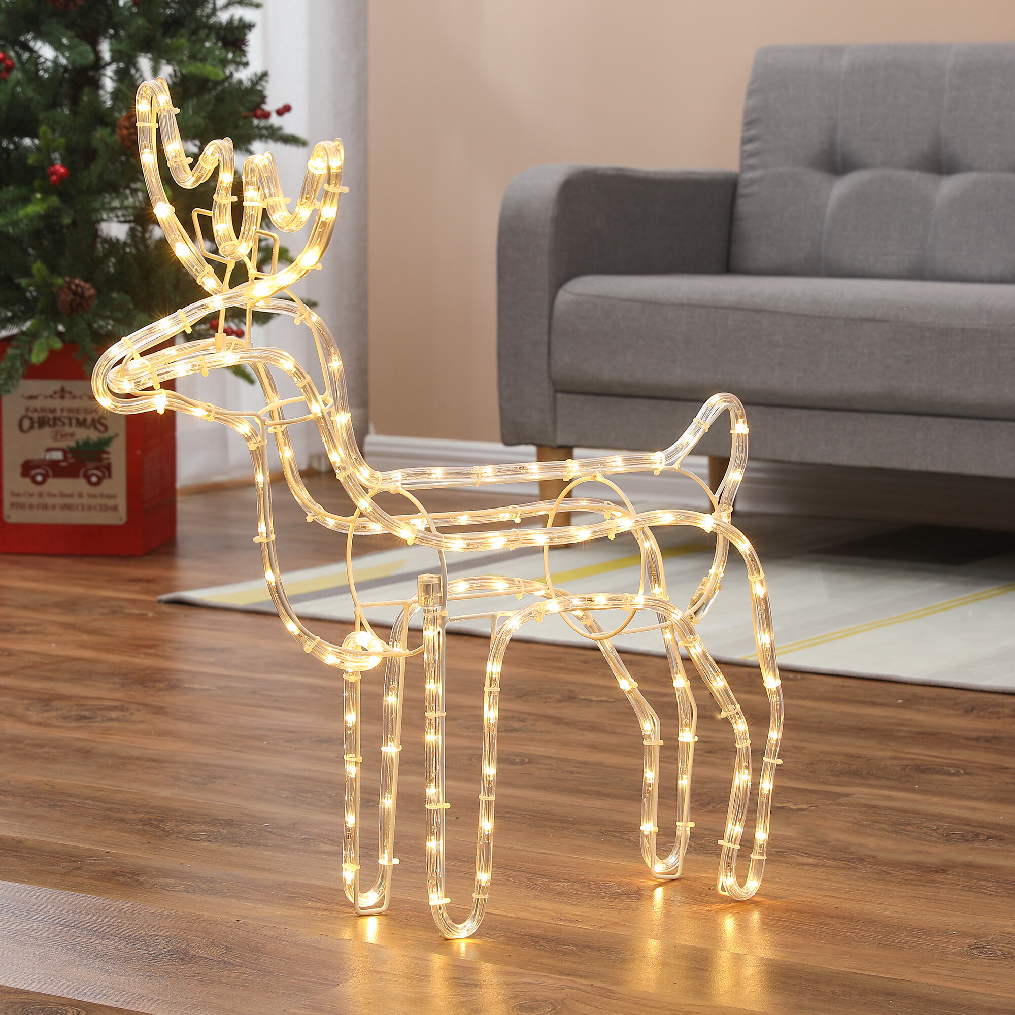 Stylish Christmas Hanging Silhouette Light For Indoor Outdoor Use Reindeer