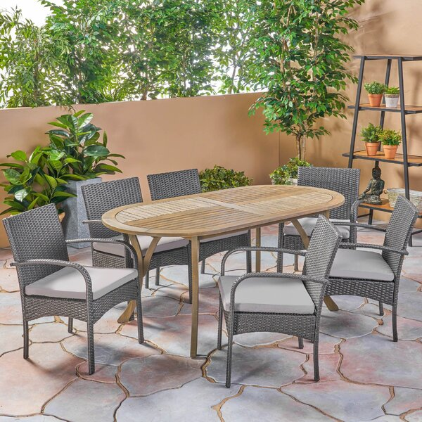 Bangor Outdoor 7 Piece Dining Set with Cushions by Gracie Oaks