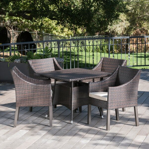 Arevalo Outdoor Wicker 5 Piece Dining Set with Cushions by Ivy Bronx