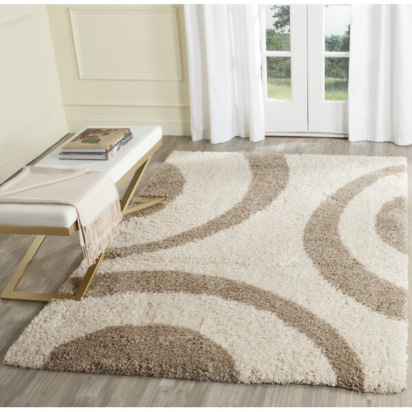 Laplaigne Shag Beige/Ivory Area Rug by House of Hampton