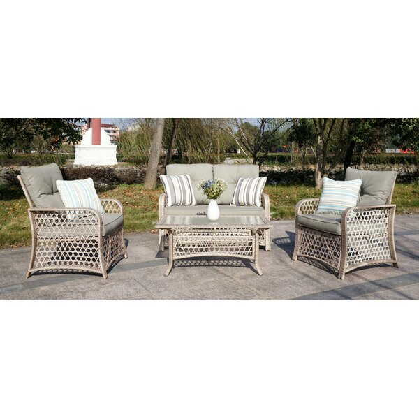 Taunya Rattan 4 Piece Sofa Seating Group with Cushions by Bungalow Rose