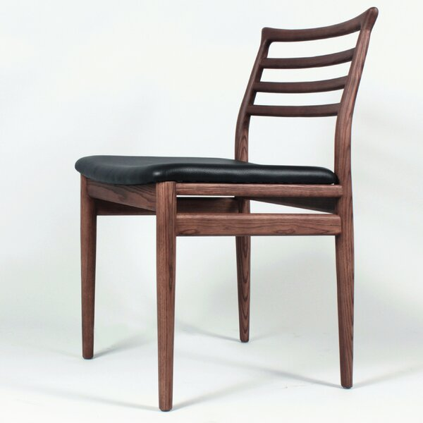 Genuine Leather Upholstered Slat Back Side Chair in Brown by dCOR design dCOR design