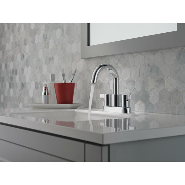 Two Handle Centerset Bathroom Faucet with Drain Assembly by Delta Delta