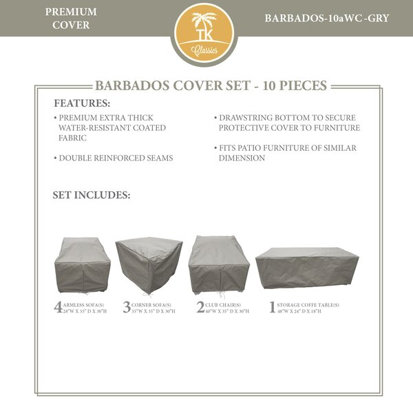 Barbados 10 Piece Water Resistant Patio Furniture Cover Set by TK Classics