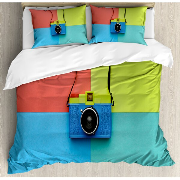Pastel Retro Style Fashion Film Camera on Colorful Backdrop Hipster Pop Urban Accessories Duvet Set by East Urban Home