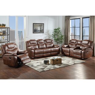 Fenris 3 Piece Faux Leather Reclining Living Room Set by Red Barrel Studio®