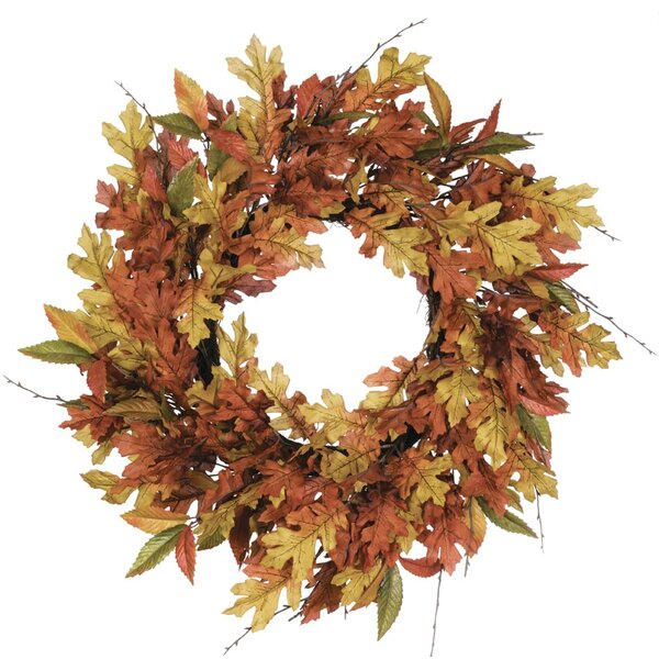 Autumn Mixed Leaf 27 Polyester Wreath by Millwood Pines
