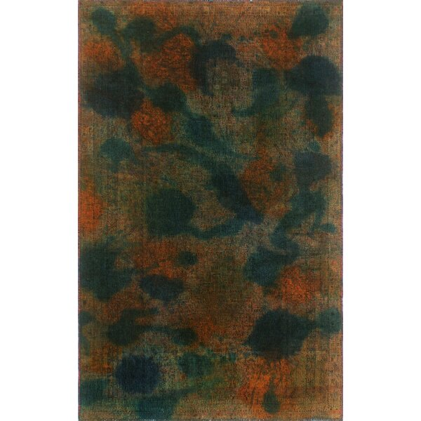 One-Of-A-Kind Treva Hand-Knotted Wool Green Area Rug by Isabelline