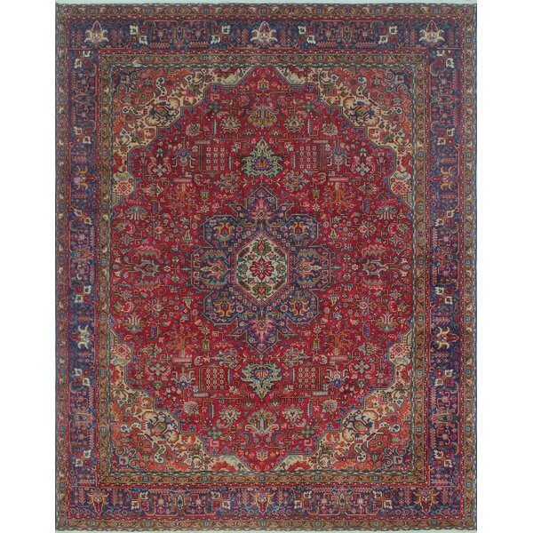 Brogan Vintage Distressed Hand Knotted Wool Red Area Rug by Bloomsbury Market