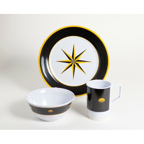 Decorated Melamine Compass 12 Piece Dinnerware Set, Service for 4 by Galleyware Company