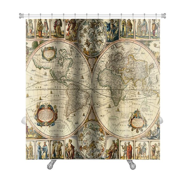 Earth Old Paper World Map Premium Shower Curtain by Gear New