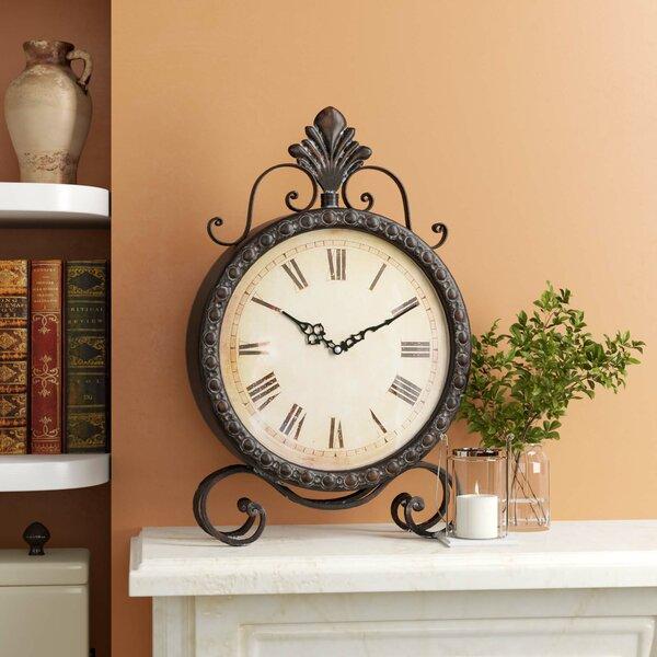 Metal Table Clock by Fleur De Lis Living