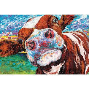 'Curious Cow I' Graphic Art Print on Wrapped Canvas by East Urban Home