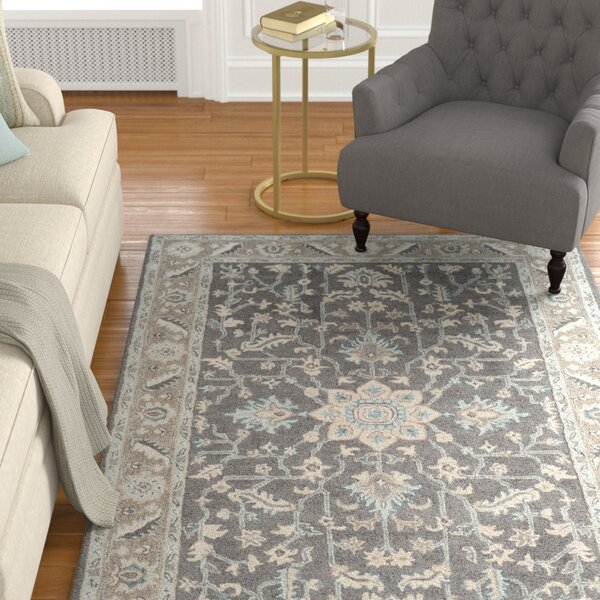 Kilbourne Hand-Tufted Wool Dark Gray/Light Brown Area Rug by Alcott Hill