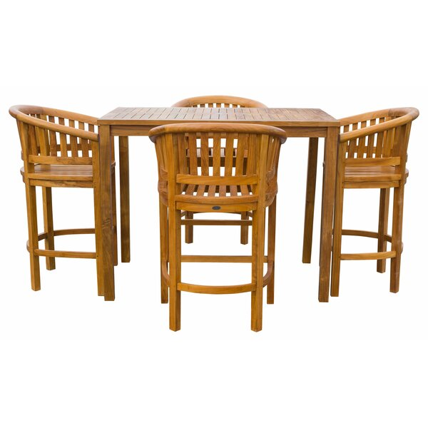 Meyer Patio 5 Piece Teak Bar Height Dining Set by Bay Isle Home