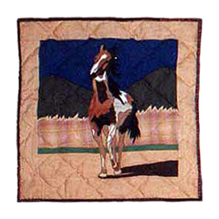 Wild Horses Cotton Throw Pillow by Patch Magic